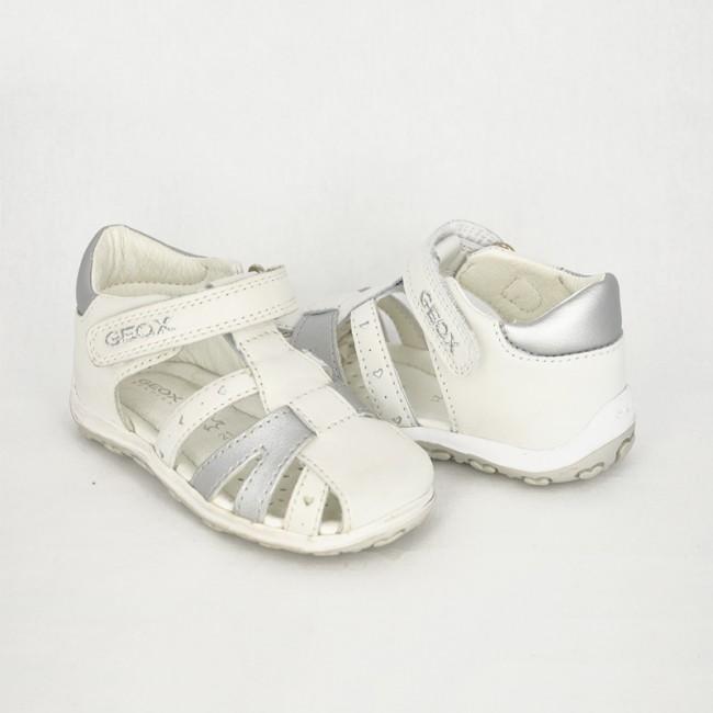 9b2bc56d8413 Dievčenské bielo- strieborné sandále GEOX - CICIBAN